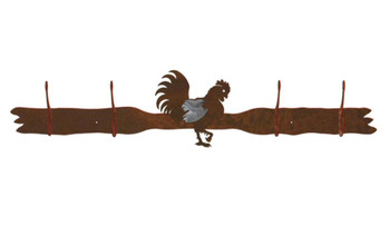 Burnished Rooster Four Hook Metal Wall Coat Rack