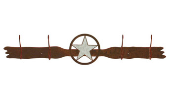 Burnished Texas Star Four Hook Metal Wall Coat Rack