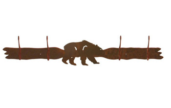 Brown Bear Four Hook Metal Wall Coat Rack