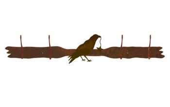 Crow Bird Four Hook Metal Wall Coat Rack