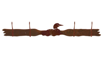 Swimming Loon Four Hook Metal Wall Coat Rack