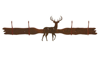Whitetail Deer Four Hook Metal Wall Coat Rack