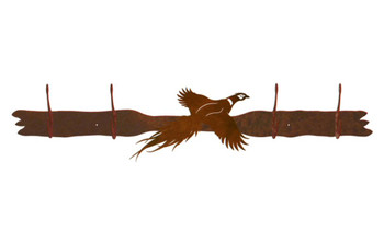 Flying Pheasant Four Hook Metal Wall Coat Rack