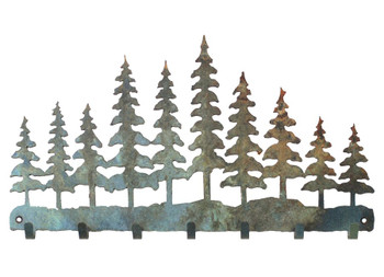 Pine Tree Forest Metal Wall Key Rack