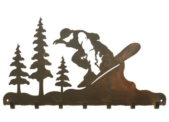 Snowboarder Metal Wall Key Rack