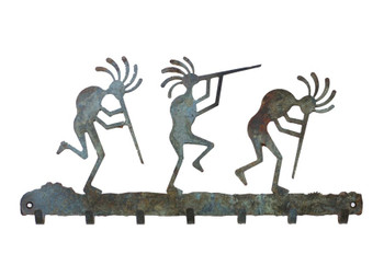 Dancing Kokopellis Metal Wall Key Rack