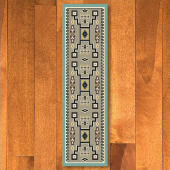 2' x 8' Old Crow Suede Turquoise Southwest Rectangle Runner Rug