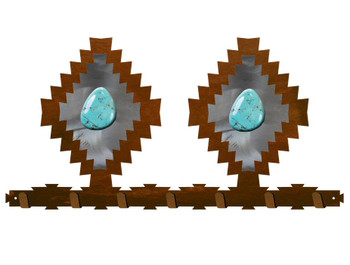 Desert Diamond with Turquoise Stone Metal Wall Key Rack
