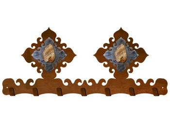 Picture Jasper Stone Metal Wall Key Rack
