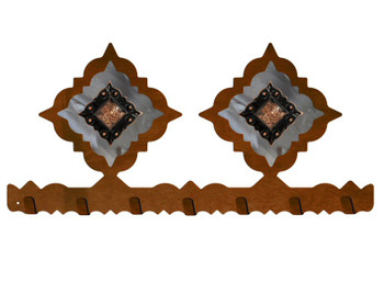 Copper Diamond Concho Metal Wall Key Rack