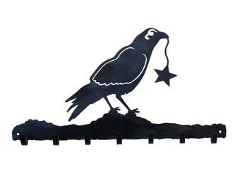 Crow Bird Metal Wall Key Rack