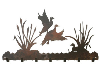 Ducks in the Cattails Metal Wall Key Rack