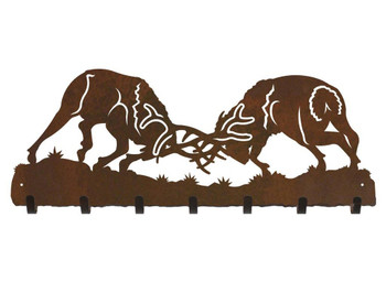 Fighting Elk Metal Wall Key Rack