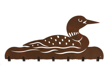 Swimming Loon Metal Wall Key Rack