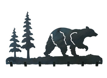 Walking Bear Metal Wall Key Rack
