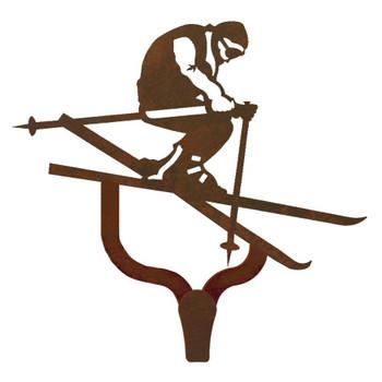 Snow Skier Large Single Metal Wall Hook