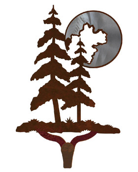 Pine Trees with Moon Burnished Large Single Metal Wall Hook