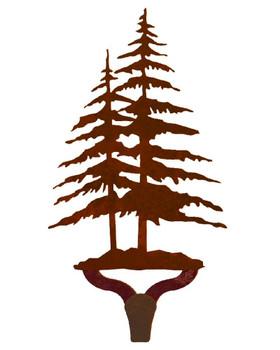Double Pine Trees Large Single Metal Wall Hook