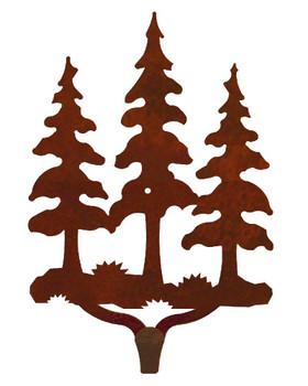 Triple Pine Trees Large Single Metal Wall Hook