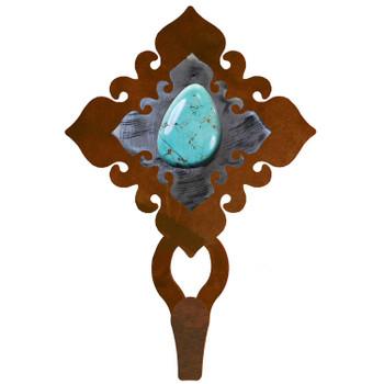 Turquoise Stone Large Single Metal Wall Hook