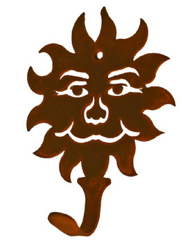 Sun Face Small Single Metal Wall Hook
