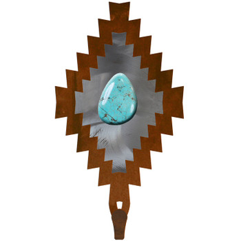 Desert Diamond with Turquoise Stone Large Single Metal Wall Hook
