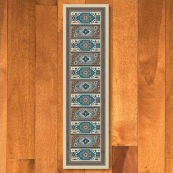 2' x 8' Indigo Turquoise Southwest Rectangle Runner Rug