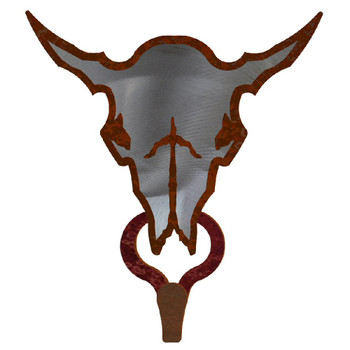Buffalo Skull Burnished Large Single Metal Wall Hook
