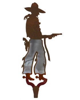 Cowboy with Pistol Burnished Large Single Metal Wall Hook