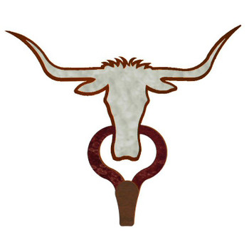 Longhorn Steer Burnished Large Single Metal Wall Hook