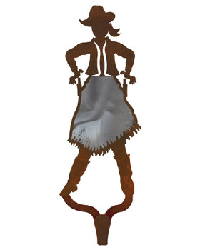 Cowgirl Burnished Large Single Metal Wall Hook