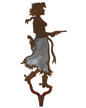 Cowgirl with Pistol Burnished Large Single Metal Wall Hook