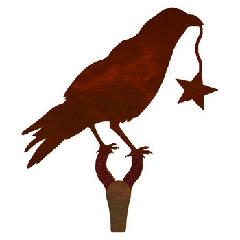 Crow Bird Large Single Metal Wall Hook