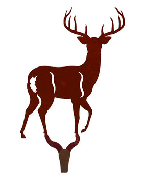 Whitetail Deer Large Single Metal Wall Hook