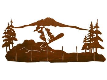 Snowboarder Scenic Six Hook Metal Wall Coat Rack