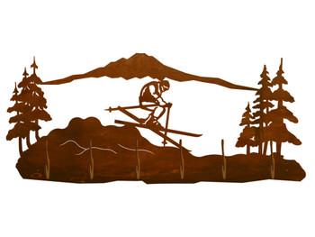 Snow Skier in the Mountains Scene Six Hook Metal Wall Coat Rack