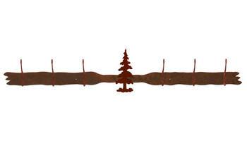 Single Pine Tree Six Hook Metal Wall Coat Rack