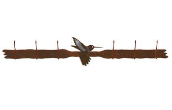 Burnished Hummingbird Six Hook Metal Wall Coat Rack