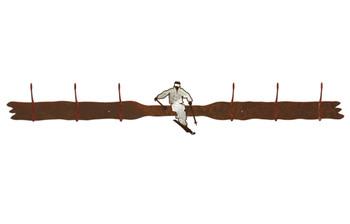 Burnished Snow Skier Six Hook Metal Wall Coat Rack