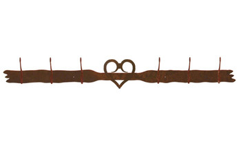 Heart Six Hook Metal Wall Coat Rack