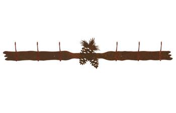 Pine Cones Six Hook Metal Wall Coat Rack