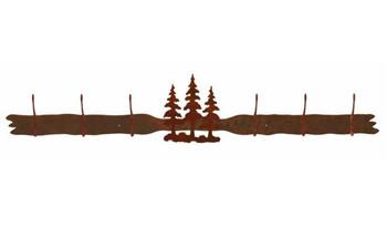 Triple Pine Trees Six Hook Metal Wall Coat Rack