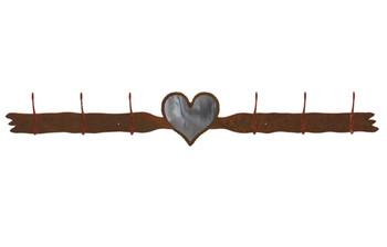 Burnished Heart Six Hook Metal Wall Coat Rack