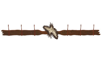Burnished Pine Cones Six Hook Metal Wall Coat Rack