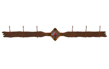 Red Jasper Stone Six Hook Metal Wall Coat Rack