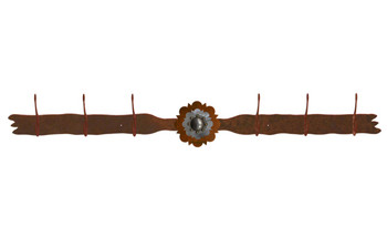 Burnished Round Old Silver Berry Concho Six Hook Metal Wall Coat Rack