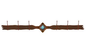 Turquoise Stone Six Hook Metal Wall Coat Rack