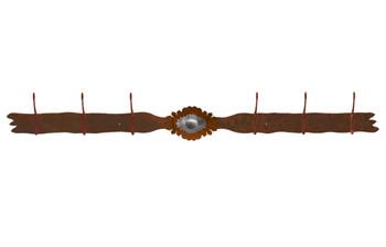 Burnished Sunburst Concho Six Hook Metal Wall Coat Rack