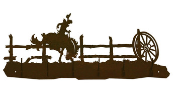 Bucking Bronco Rider Scene Six Hook Metal Wall Coat Rack