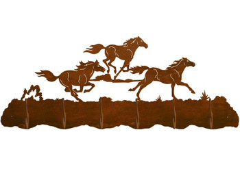 Running Wild Horses Scenic Six Hook Metal Wall Coat Rack